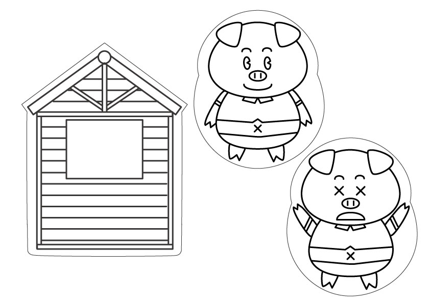 [Simple craft - paper puppet theater] the three little pigs free download